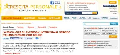 crescita personale - La psicologia su Facebook: intervista al Servizio Italiano di Psicologia Online