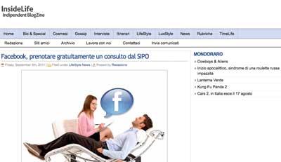 insidelife - Facebook, prenotare gratuitamente un consulto dal SIPO