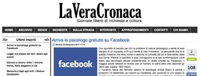 La vera cronaca - Arriva lo psicologo gratuito su facebook