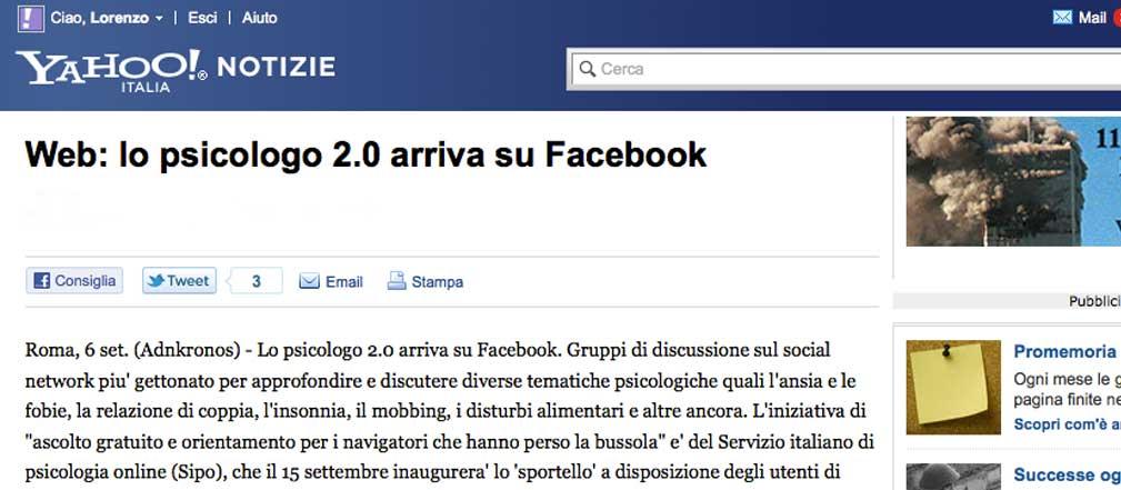 Yahoo notizie - Psicologo 2.0 su Facebook