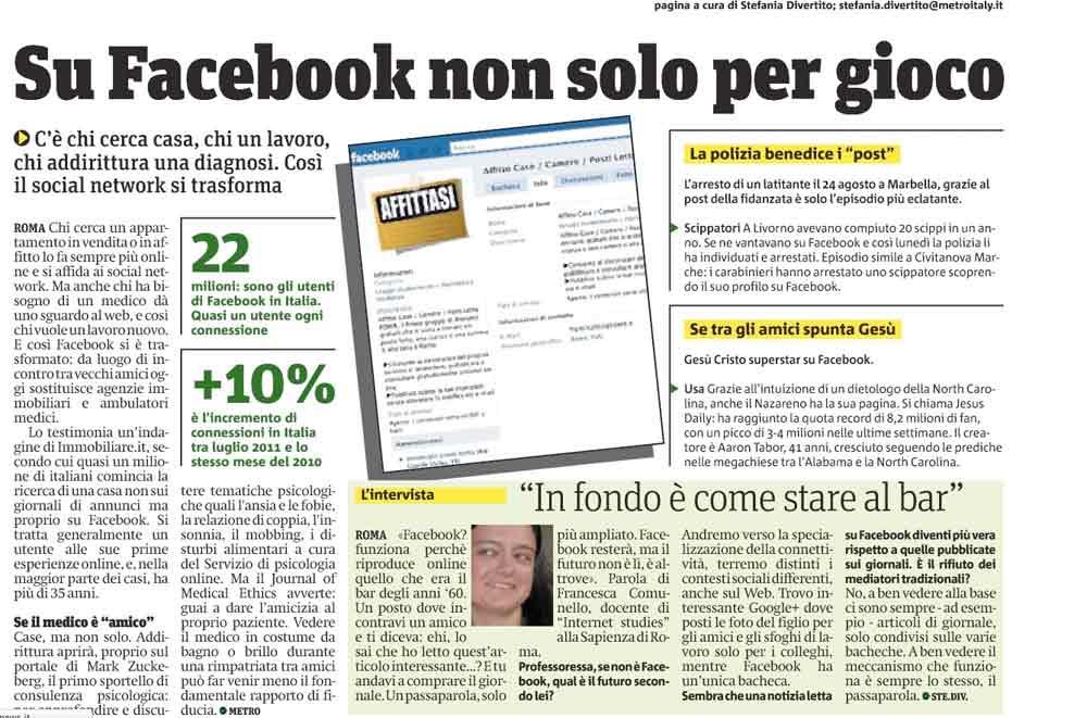 METRO - Su Facebook non solo per gioco (07/09/11)