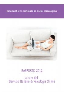 Rapporto 2012 - Facebook e la richiesta di aiuto psicologico